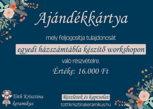 Házszámtábla workshop | 16.000 Ft
